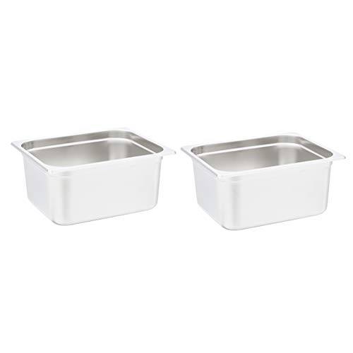 """AmazonCommercial 1/2 Size x 6"""" Deep, Anti-Jam Stainless Steel Steam Table/Hotel Pan, 22 Gauge, Pack of 2"""