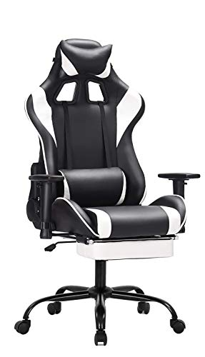 Video Computer Gaming Chair, with Headrest and Pillow Ergonomic Racing Chair Adjustable Height and Tilt High Back Swivel Chair Office Chair with Footrest PU Leather Gamer Chair Tier Black & Blue
