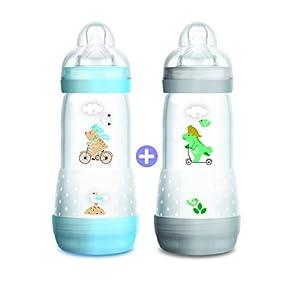 Mam - Set de 2 biberones anticólicos, con de flujo nro. 3, para niño, 320 ml, unisex
