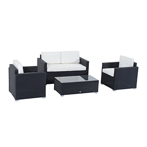 Outsunny 4-Piece Cushioned Patio Furniture Set, with 2 Chairs, Sectional, and Glass Coffee Table, Rattan Wicker, Black