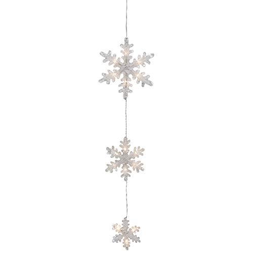 LED Schneeflocken Hängedeko/beleuchteter Dekohänger warmweiße LEDs/Batteriebetrieben dekorative Weihnachtsbeleuchtung mit Schalter & Timer-Funktion