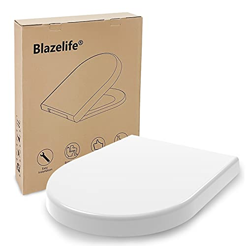 Blazelife Toilettendeckel Toilet Seat, 99,99% Antibakteriell und Langlebig WC Sitz mit Absenkautomatik,Dick und Bequem Klobrille für D-Form