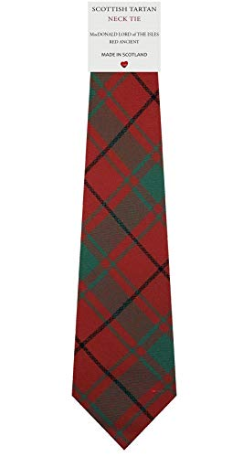 I Luv Ltd Cravate en Laine pour Homme Tissée et Fabriquée en Ecosse à MacDonald Lord Of The Isles Red Ancient Tartan