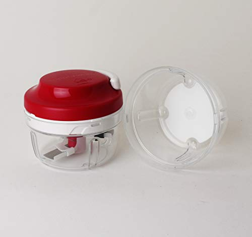 TUPPERWARE Chef Turbo-Chef Rot/Transparent + 1x Ersatzbehälter Transparent D158 Zwiebeln Zerkleiner Speedy Boy Zwiebelschneider 27357
