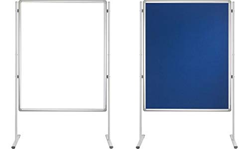 Franken SFD800303 Stellwand-Tafel (beidseitig Schreib/Filz ohne Säulen) 90 x 120 cm, blau