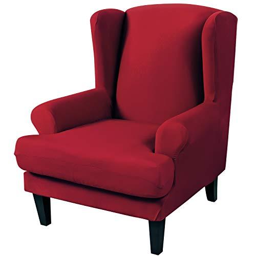 ChicSoleil Ohrensessel Schonbezug Elastische Sesselbezug Stretch Einfarbige Sesselüberwurf Sofaüberwurf Schutzhülle Sessel Husse für Ohrensessel(Rot)