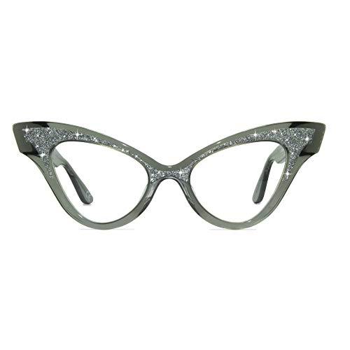 JOIUSS Glimmer Crystal Wintip Glasses Frame, By Montature per Occhiali da Vista, Black Crystal & Silver Glitter/Clear, 51mm Unisex-Adulto
