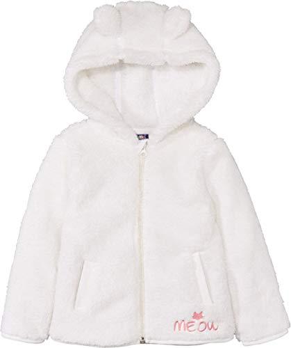 lupilu® Kinder Mädchen Teddy Fleece Jacke, mit Kapuze (Weiß, Gr. 86/92)