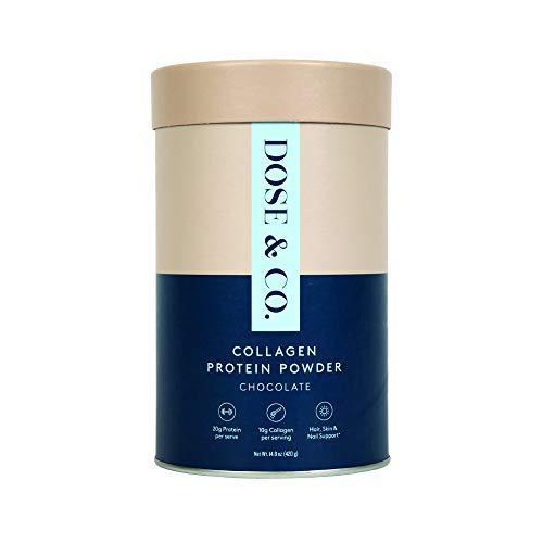 Dose amp Co Collagen Protein Powder Chocolate Fudge 148oz 420g – NonGMO Gluten Free Sugar Free Collagen Peptides Supplement – 20g of Whey Protein