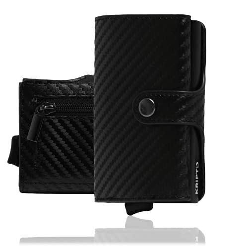 Tarjetero de 6 + 4 blindado por RFID anticlonación con clip de cierre de piel sintética y aluminio – portatarjetas pequeño y ligero con portatarjetas de piel sintética, Negro carbón.,