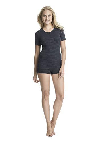 con-ta Thermo Panty, bequemer Hipster mit natürlicher Baumwolle, wärmeisolierende Thermounterwäsche, Damenbekleidung, schwarz Geringelt, Größe: 44