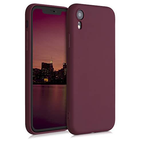 kwmobile Funda Compatible con Apple iPhone XR - Carcasa de TPU Silicona - Protector Trasero en Rojo Vino