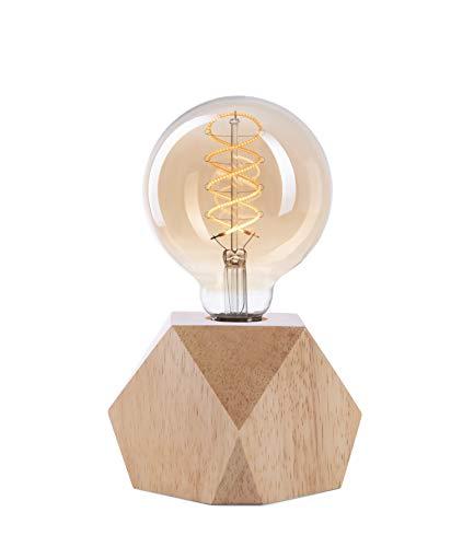 Lámpara Crown LED | Luz vintage alimentada por batería | Diseño Retro Industrial | Color: Roble claro | portátil liviano 19,5 x 9 x 9,5cm | incl. bombilla LED Retro Edison EL19