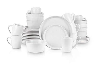 Stone Lain Stoneware Dinnerware Set, Service For 8, Snow White