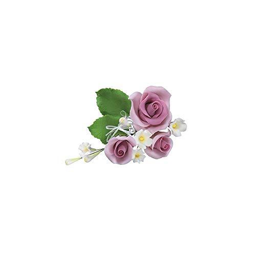 Decoración para tarta de boda con diseño de rosas de color lila claro