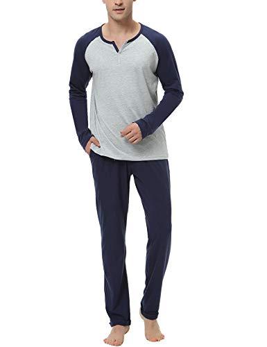 Hawiton Schlafanzug Herren lang Zweiteiliger Pyjamas Rundhals Baumwolle Nachtwäsche Sleepwear für Männer Grau S