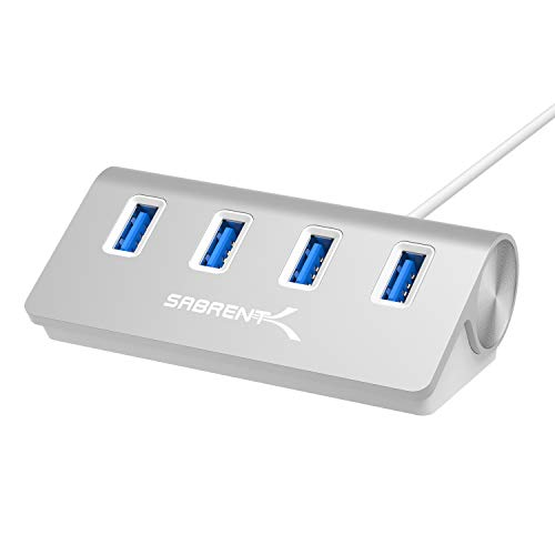 Sabrent Premium 4 Port Aluminum USB 3.0 Hub (30' Cable) for iMac, MacBook, MacBook Pro, MacBook Air, Mac Mini, or Any PC [Silver] (HB-MAC3)