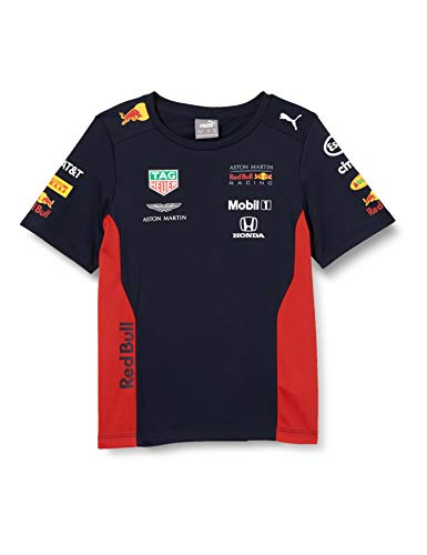 Red Bull Racing Official Teamline T-Shirt, Blau Youth Größe 104 T-Shirt, Racing Aston Martin Formula 1 Team Original Bekleidung & Merchandise