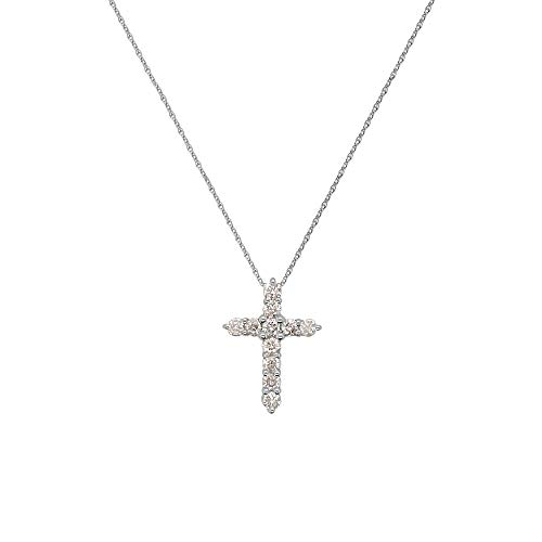 14K Gold Plated Sterling Silver Small Cross Pendant Italian 1.6mm Rope Chain Necklace Choice of Sizes