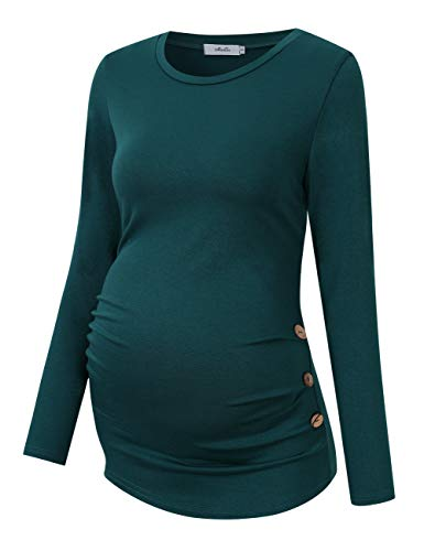MissQee Maternity Shirt Side Button and Ruched Maternity Tunic Tops Maternity Long Sleeve T-Shirts (M,Green-Long)