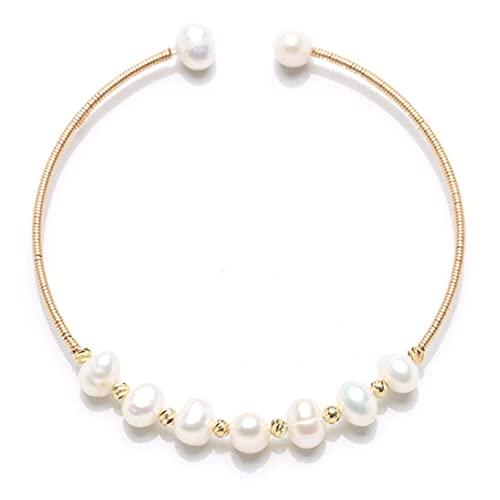 Kongqiabona-UK Pulseras de Mujer, Pulseras de Cadena de Perlas de Lujo Ajustables, brazaletes, Pulseras envolventes Hechas a Mano, Regalo de cumpleaños
