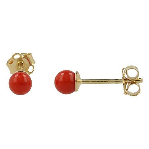 Gioiello Italiano - Pendientes de botón de oro amarillo de 14kt con pasta de coral, de 4mm de diámetro, para mujeres y niñas