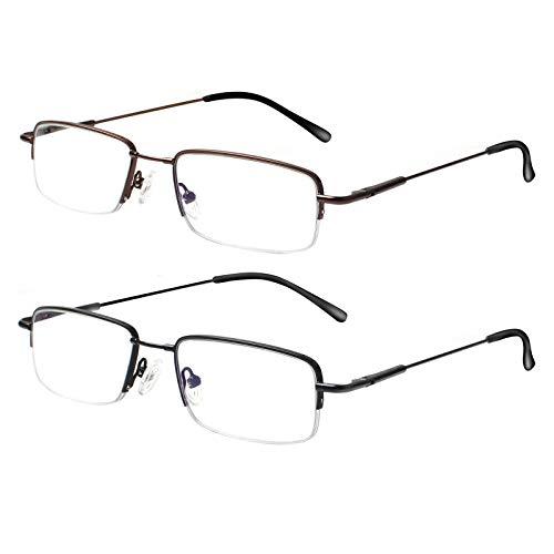 Kerecsen Lesebrille 2 Pack Damen,Herren, Halbrand Metall Brille Blaulichtfilter Computer Lesebrille gegen Kopfschmerten, UV Schutzbrille Sehhilfe (0.0, 2 Farbe Mischen)