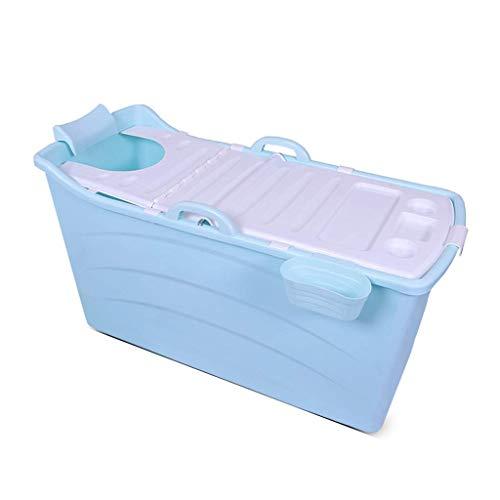 YJTGZ Bañera Plegable, bañera de plástico portátil para Adultos, Piscina Grande de tamaño Completo para el hogar, Cubo de baño para niños con Tapa, Azul/Rosa 120 * 54 * 67 cm (Color: Azul + Cu
