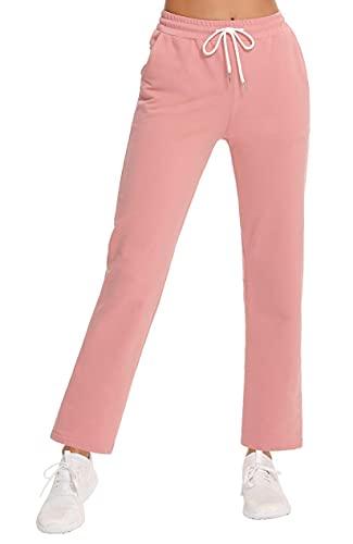 Sykooria Pantalones Deportivos Verano de Mujer Algodón con Bolsillos&Cordón,Pantalon Largos Chándal Cintura Alta Elástico Mujer,Pantalones de Fitness Ligeros Cómodos, para Yoga GimnasioOcio(Rosa,XL)