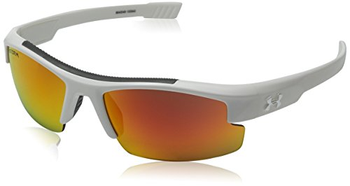 Under Armour Kids' Nitro L Sunglasses Rectangular, Storm Shiny White/Gray Polarized Orange Mirror Lens, 59 mm