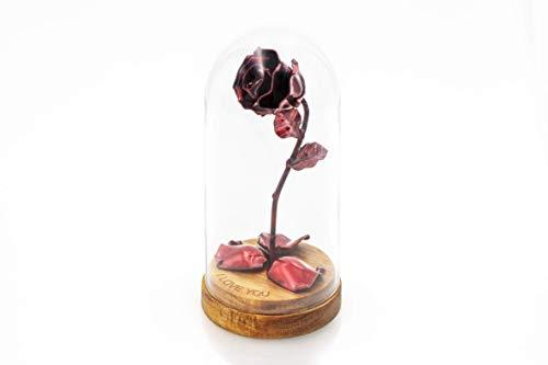 Rosa Eterna de Hierro Forjado Roja La Bella y La Bestia con Grabado Pe