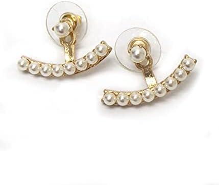 Fashion Boston Mall Jewelry ~ Cream Faux Max 84% OFF Jacket Goldtone Pearls Ear Earrings
