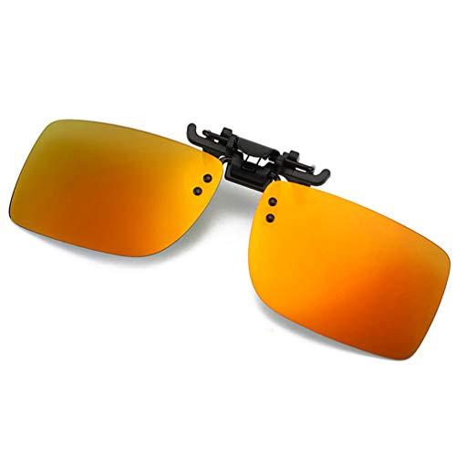Polarized Flip Up Clip-on Sunglasses Anti-Glare UV 400 Protection Driving Sunglasses Clip-on for Prescription Glasses (Orange)