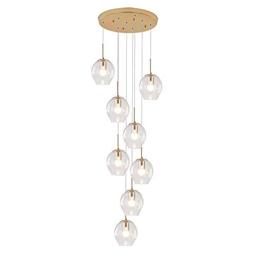 Bola de cristal 8 luces Candelabro de gota de lluvia 180 cm Altura ajustable Luz colgante larga E27 Montaje empotrado Mano Soplado Globo de vidrio Luz de techo Decoración nórdica Escalera Lá