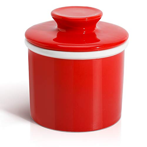 Sweese 305.104 Porcelain Butter Keeper Crock - French Butter Dish - No More Hard Butter - Perfect Spreadable Consistency, Red