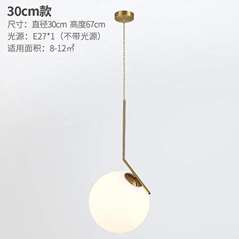 Glaskugelrestaurantschlafzimmerpfosten des Messingkronleuchterpfostens moderne kreative Bekleidungsgeschftbeleuchtung, 30CM