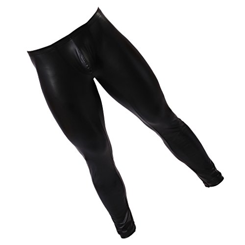 Baoblaze Leggings Boy Leggings Para Hombres Look De Cuero Wetlook Shine Pants Leggings