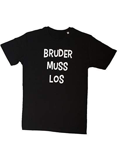 Herren T-Shirt Bruder muss los   Rundhals Shirt, Größe:S, Farbe:Schwarz