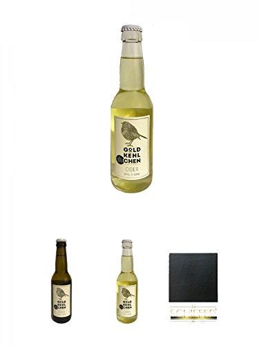 Goldkehlchen Cider Apfel und Birne (Vegan) + Goldkehlchen Cider Apfel (Vegan) + Goldkehlchen Cider Apfel und Birne (Vegan) + Schiefer Glasuntersetzer eckig ca. 9,5 cm Durchmesser