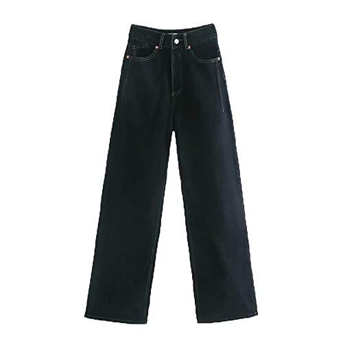 Pantalones Vaqueros Extra Largos De Cintura Alta para Mujer Pantalones con Cremallera De Bolsillo Pantalones De Mezclilla De Pierna Ancha para Mujer