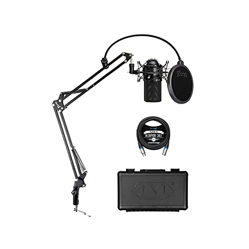 MXL 990 Cardioid Condenser Microphone for Vocals and Acoustic Guitar Recording (Black) Bundle with Blucoil Boom Arm Plus Pop Filter, and 10-FT Balanced XLR Cable