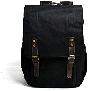 Leather Bag Mens Waterproof Waxing SLR Camera Canvas Backpack Large Capacity Travel Camera Backpack High Capacity (Color : Black, Size : 15 inches)
