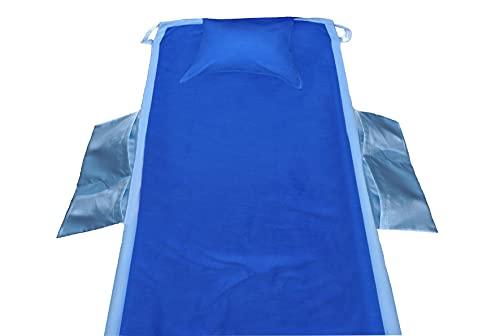 CASA TESSILE Comodo Telo Mare Microfibra per la Sdraio con Tasche Laterali cm 70x185 - Blu Scuro