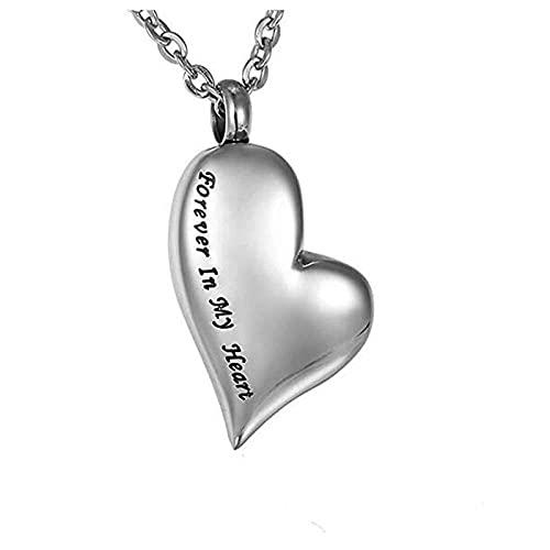 KBFDWEC Colgante y Collar de corazón de Ceniza de Acero Inoxidable para Siempre en mi corazón Collares de urna de cremación Conmemorativa Colgantes de medallón