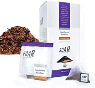ROAR Organic Cranberry Rooibos Herbal Tea Pyramid Bags 80 count (4 Boxes of 20 Bags Each) Naturally Caffeine Free