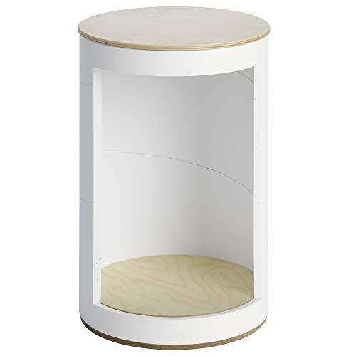 rund:Stil RUDNA. Nachhaltiger Hocker mit Fach perfekt als Nachttisch in 4 Farben. Extrem belastbar (Weiß)