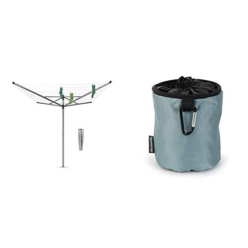 Brabantia 311000 Séchoir Lift-O-Matic Rotatif 4 Bras 60m/Réglable en Hauteur avec Ancre - Argent & 105784 Premium Sac pour Pinces à Linge Noir/Bleu/Mint - Coloris aléatoire
