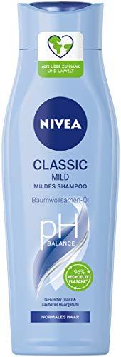 NIVEA Classic Mild Shampoo (250 ml), pflegendes Haarshampoo mit Baumwollsamen-Öl, mild reinigendes Pflegeshampoo für normales Haar