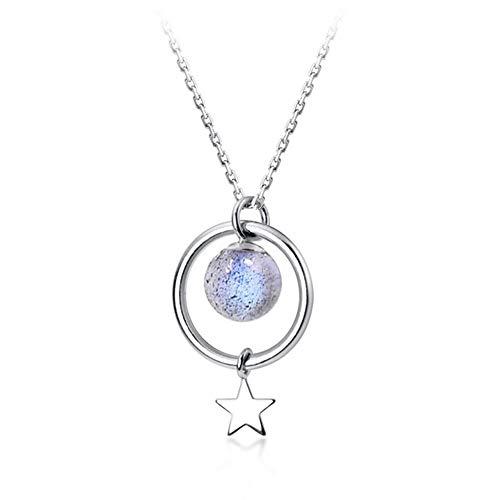 Gymy S925 plata moda fresa cristal collar dulce pequeño círculo estrella corta piedra lunar clavícula cadena D4233, Moonstone