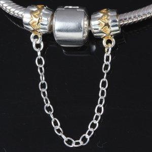 soulbeads 18K chapado en oro corazón a corazón, con cadena de seguridad auténtica 925plata de ley Bead para Europea Pulsera Charms